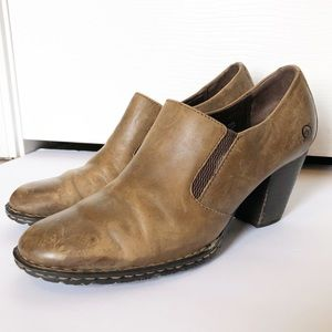 Born Distressed Leather Closed Back Heeled Clogs